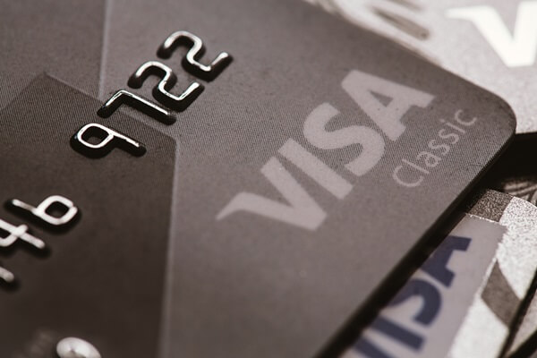 Close up of a Visa credit card